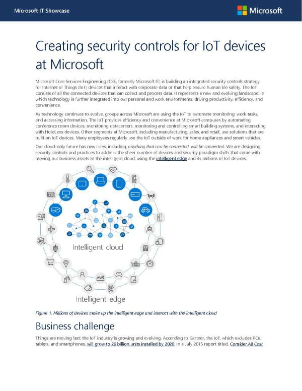 Creating security controls for IoT devices at Microsoft